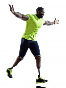 handicapped man joggers runners running with legs prosthesis silhouette